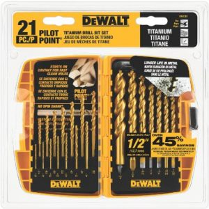 DEWALT DW1361 Titanium Pilot Point Drill Bit Set